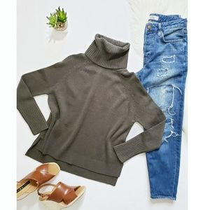 Michael Stars Loden Wool X Turtleneck Sweater